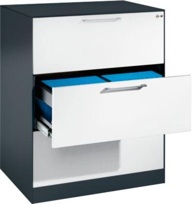 Hangmappenkast ASISTO C 3000, 3 laden, 2 rijen, B 800 mm, antraciet/wit, 2 rijen, B 800 mm, antraciet/wit