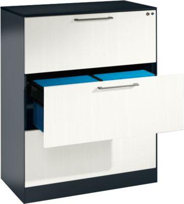 Hangmappenkast ASISTO C 3000, 3 laden, 2 rijen, B 800 mm, met akoestische panelen, antraciet/wit, 2 rijen, B 800 mm, met akoestische panelen