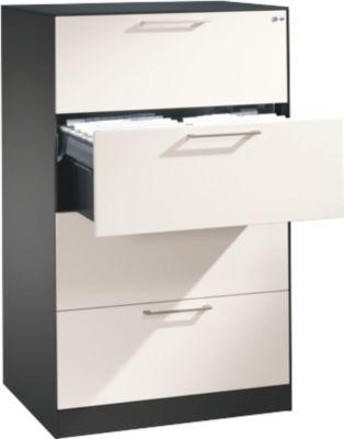Hangmappenkast ASISTO C 3000, 4 laden, 2-strooks, B 800 mm, antraciet/wit, 2-laaten, B 800 mm, antraciet/wit