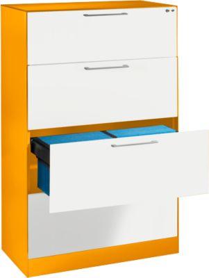 Hangmappenkast ASISTO C 3000, 4 lades, 2 stroken, B 800 mm, met akoestische panelen, oranje/wit