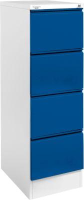 Hangmappenkast, H24S, enkel, lichtgrijs/gentiaanblauw