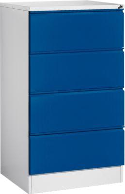 Hangmappenkast, HD24S, dubbel, lichtgrijs/gentiaanblauw