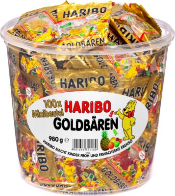 HARIBO snoep Goldberen, 100 mini zakjes, 980 g