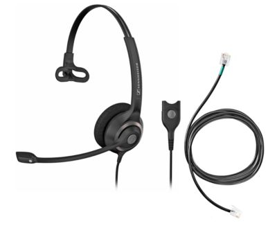 Headset Sennheiser SC 230, kabelgebunden/monaural, mit Telefonadapter CEHS-DHSG, Kopfbügel verstellb.