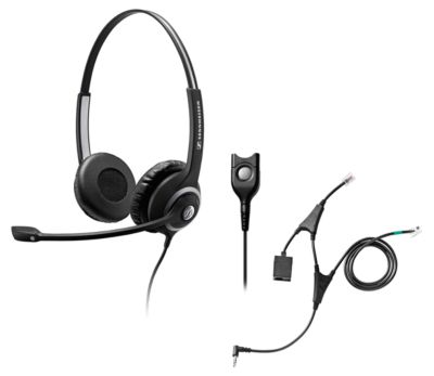 Headset Sennheiser SC 260, kabelgebunden/binaural, mit Telefonadapter CEHS-AL01, Kopfbügel verstellb.