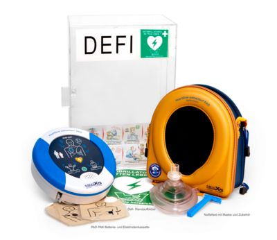 HeartSine Komplettset Defibrillator SAM 350P, mit Plexiglaswandkasten, AED, Indoor