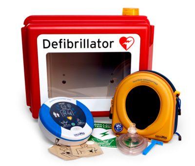 HeartSine Komplettset Defibrillator SAM 360P, Hartschalen-Wandkasten, In- und Outdoor