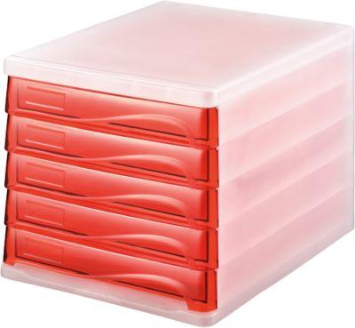 helit ladeblok met gekleurde laden, , behuizing wit transparant/laden rood
