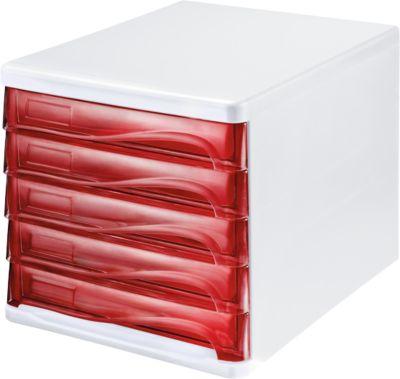 helit Schubladenbox, 5 Schübe, DIN A4, Polypropylen, Gehäuse weiß/Schublade rot transparent