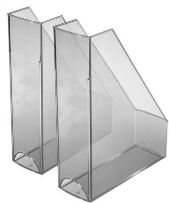 HELIT Stehsammler, DIN A4 -C4, 2 Stück, Polystyrol, grau transparent