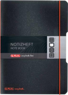 Herlitz Notizbuch my.book, Format DIN A4, Kunststoff, 2 x 40 Blätter kariert/liniert, schwarz