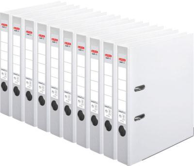 herlitz Ordner maX.file protect plus, DIN A4, Rückenbreite 50 mm, 10 Stück, weiß