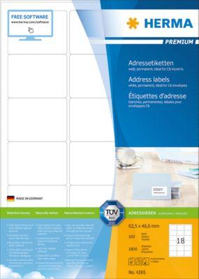 HERMA Etiketten Premium, permanent hechtend, nr. 4265, 63,5 x 46,6 mm, mat papier, 1800 etiketten/100 vel