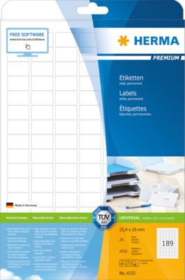 HERMA Etiketten Premium, permanent hechtend, nr. 4333, 25,4 x 10 mm, mat papier, 4725etiketten/25 vel