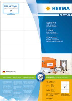 HERMA Etiketten Premium, permanent hechtend, nr. 4451, 70 x 52 mm, mat papier, 2100 etiketten/100 vel