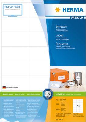 HERMA Etiketten Premium, permanent hechtend, nr. 4615, 70 x 37 mm, mat papier, 4800/200 etiketten