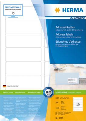 HERMA Étiquettes Premium blanches, permanentes, nr. 4479, 88,9 x 33,8 mm, papier mat, 1600 etiketten/100 vel