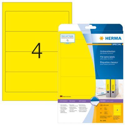 Herma Ordneretiketten A4, 192 x 61 mm, permanent haftend/bedruckbar, 80 Stück, gelb