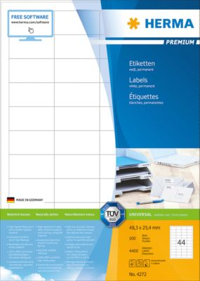 Herma Premium-Etiketten Nr. 4272 auf DIN A4-Blättern, 4400 Etiketten, 100 Bogen