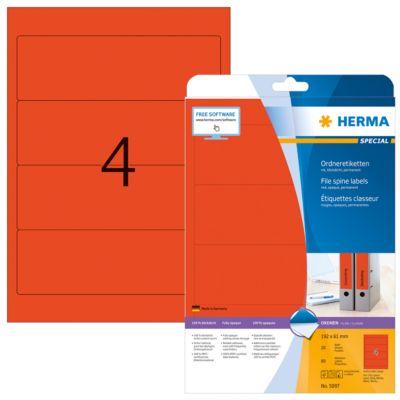 HERMA zelklevende ordneretiketten A4, 192 mm x 61 mm, permanent, mat ondoorzichtig, 1 pak van  80 etiketten, rood