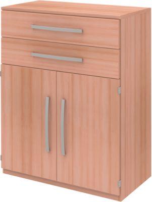 Highboard BARI, 3 OH, 2 Schubkästen, 2 Türen, 1 Boden, B 819 x T 430 x H 1117 mm, Buche-Dekor