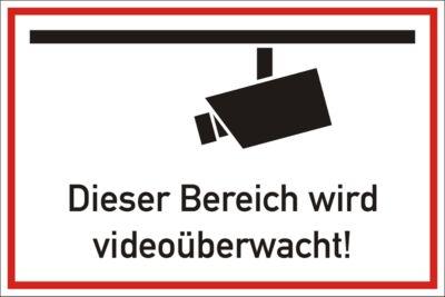 Hinweisschild: Dieser Bereich wird videoüberwacht!, 300 x 200 mm