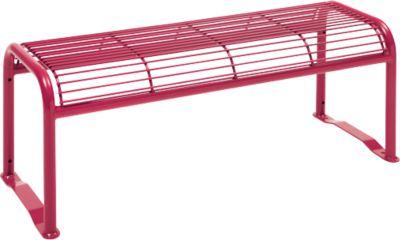Hockerbank, 2-Sitzer, mit Gitternetz, für Außenbereich, weinrot (RAL 3005)