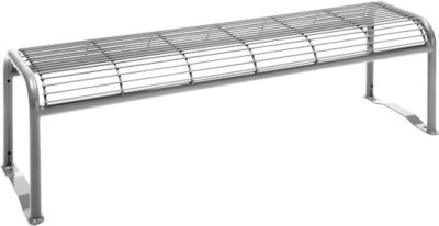 Hockerbank, 3-Sitzer, mit Gitternetz, für Außenbereich, weißaluminium (RAL 9006)