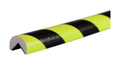 Hoekbeschermingsprofiel type A, 5 m rol, geel/zwart, daglichtfluorescerend, 5 m rol, met een lichtstraal.