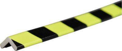 Hoekbeschermingsprofiel type E, 1 m stuk, geel/zwart, daglichtfluorescerend, magnetisch, 1 m.