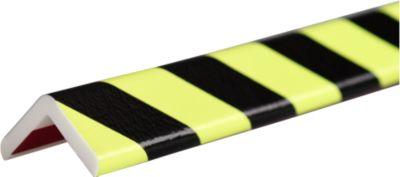 Hoekbeschermingsprofiel type H+, 1 m stuk, geel/zwart, daglichtfluorescerend, 1 m.