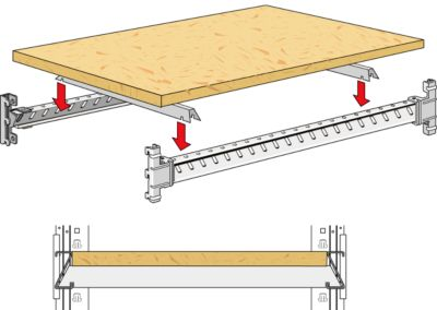Holzfachboden, eingelassen, B 985 mm