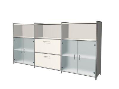 Hoogtebord Toledo, 2 lades, 3 vakken, 3 OH, glazen deuren, B 2360 x D 380 mm, wit