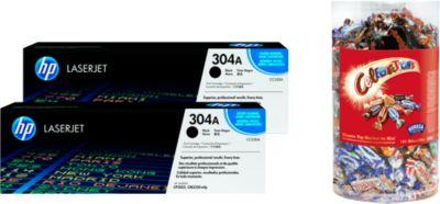 HP Sparpaket 2 x Color LaserJet CC530A Druckkassette schwarz + Celebrations, GRATIS