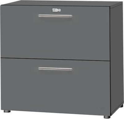 HR-kast Starten, 2 OH, afsluitbaar, B 800 x D 420 x D 744 x H 744 mm, hout, grafiet/grafiet