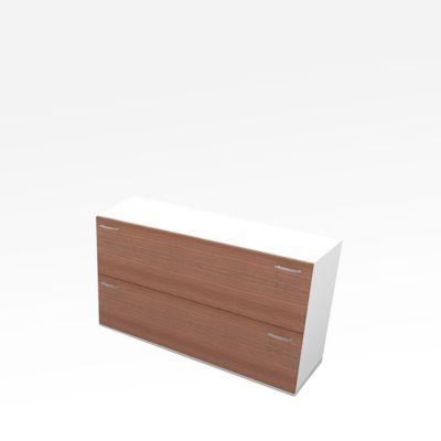 HR-Schrank X-TIME-WORK, 2 Auszüge, 860 x 430 x 860 mm, Nuss Canaletto-Dekor/weiß