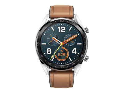 Huawei Watch GT Classic - Edelstahl - intelligente Uhr mit Riemen - Sattelbraun - 128 MB
