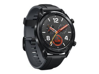 Huawei Watch GT Sport - schwarzes Edelstahl - intelligente Uhr mit Riemen - Graphitschwarz - 128 MB