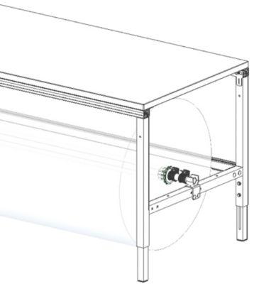 Hüdig+Rocholz Assenset voor verpakkingstafelsysteem Flex, voor tafelbreedte 1600 mm.