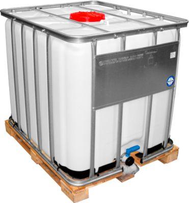 IBC tank, waterreservoir voor gevaarlijke stoffen met houtenpallet, 1000 liter, B 1000 x H 1164 mm
