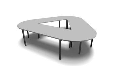 IDEA modulair vergadertafel, driehoekig, 9 plaatsen, B 3200 x D 2980 mm, lichtgrijs/antraciet
