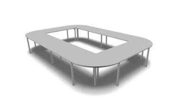 IDEA modulair vergadertafel, rechthoekig, 16 plaatsen, B 3200 x D 4800 mm, lichtgrijs/alu