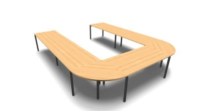 IDEA modulair vergadertafel, U-vorm, 12 plaatsen, B 3200 x D 4000 mm, beukendecor/antraciet