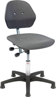 Industrie bureaustoel Solid, kunststof kruisvoet. m. gl., 630-800 mm