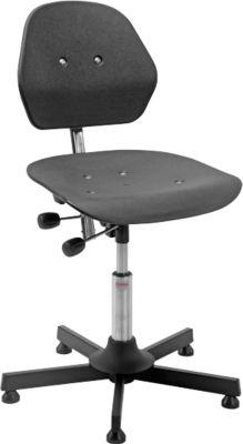 Industrie-bureaustoel Solid, stalen kruisvoet. m. gl., 630-800 mm