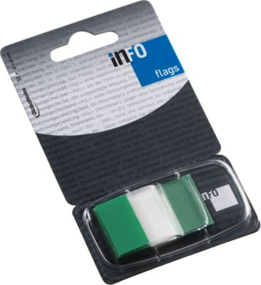 INFO Flags notes, 25 x 43 mm, 50 vel, groen transparant