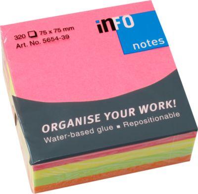 INFO Haftnotizen Brillant, 75 mm x 75 mm, 1 x 320 Blatt, gelb, orange, grün, pink