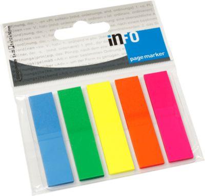 INFO Haftstreifen Page Marker, 12 mm x 50 mm, 5 x 25 Blatt, Rechteck