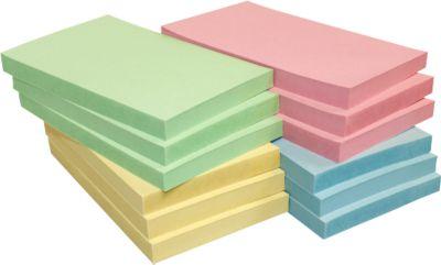 INFO notes, gerecycleerd papier, gekleurd, 125 x 75 mm, 1 pak van 12 stuks