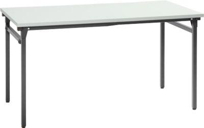 Inklapbare tafel, 4 poten met inklapbeslag, l 1400 x b 700 x 725 mm, onderstel zwart, tafelblad grijs